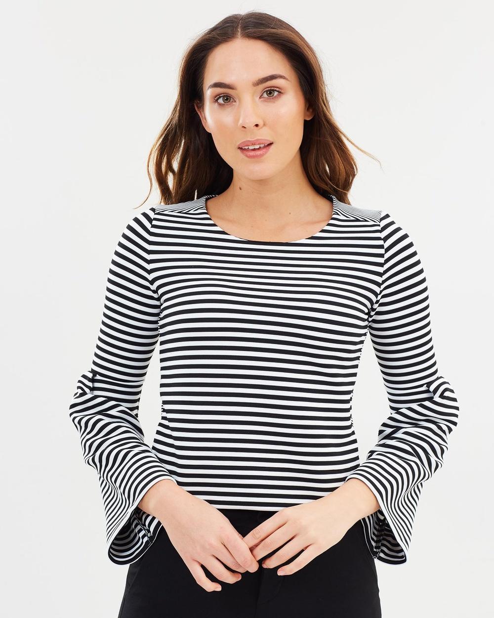 Karen Millen Flared Sleeve Top Tops Black & White Flared Sleeve Top