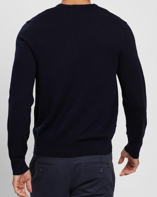 Calvin Klein Slim Fit Merino Wool V Neck Sweater - Jumpers & Cardigans (Deep Creek Navy)