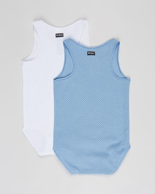 Bonds Baby Wondercool Eyelet Singletsuit 2 Pack   Babies - Bodysuits (Surfari Blue & White)