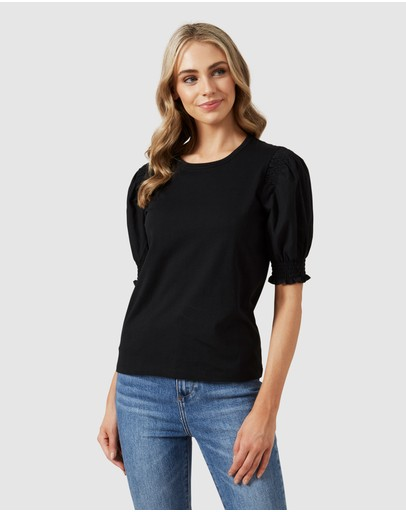French Connection Puff Sleeve Shirred T Shirt Black