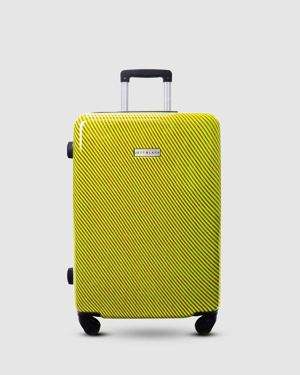 JETT BLACK Carbon Yellow Series Medium Suitcase Travel and Luggage Yellow