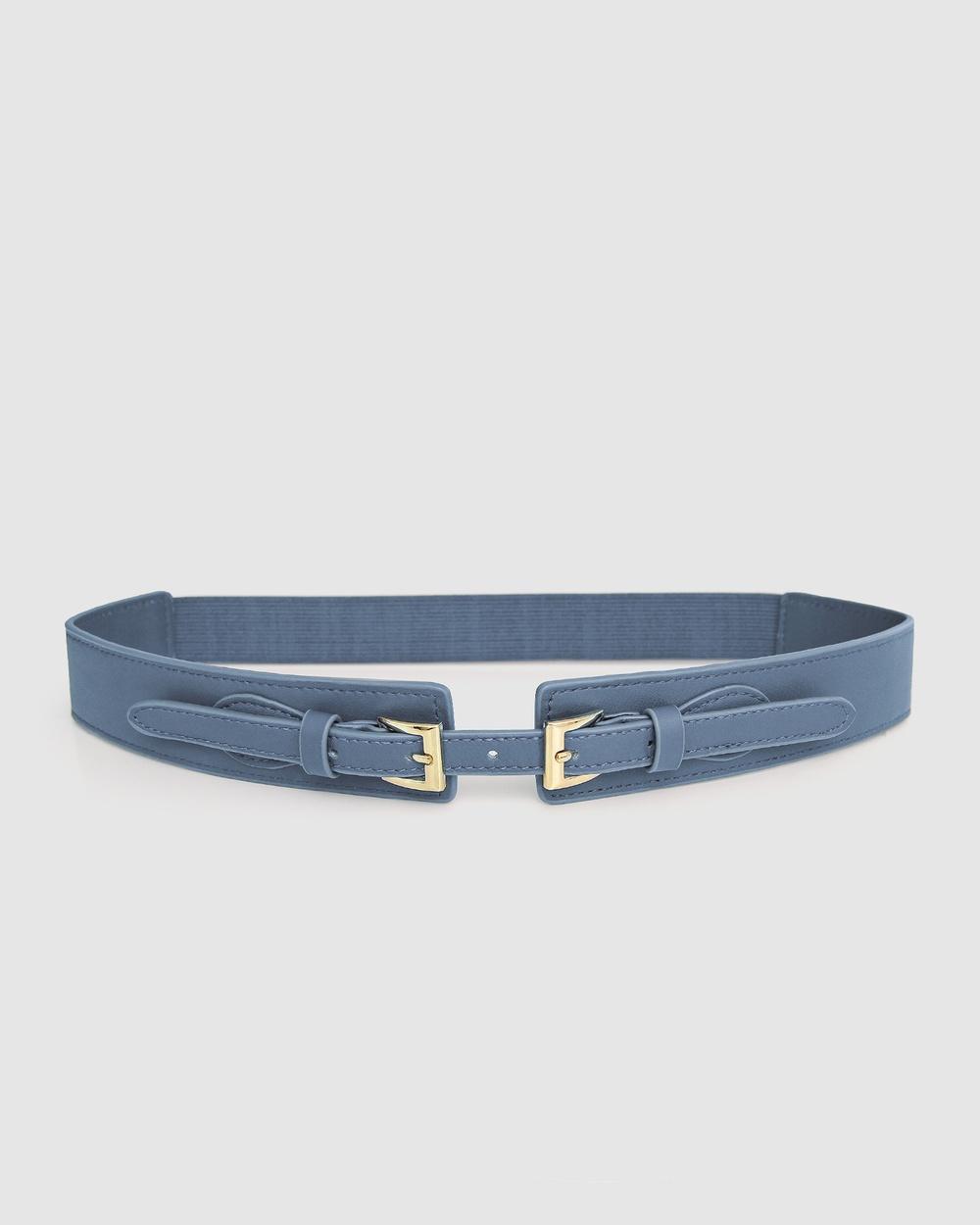 Belle & Bloom London Fog Leather Waist Belt Belts Blue