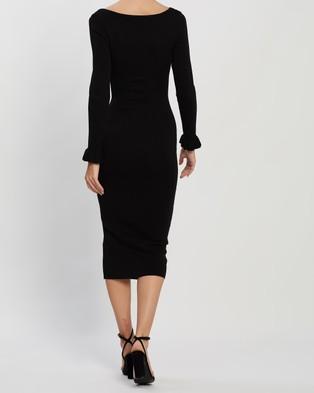BY JOHNNY. Full Cuff Ribbed Midi Dress - Bodycon Dresses (Black)