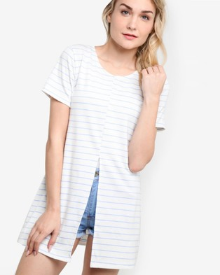 BoyFromBlighty – Striped Summer Dress Top Blue and White