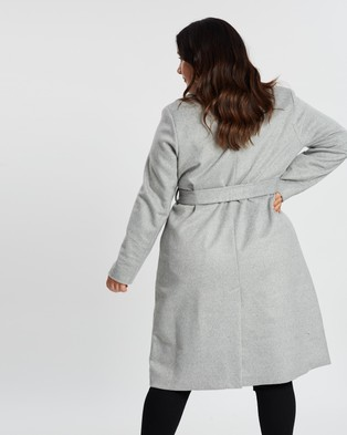Atmos&Here Curvy Amelia Wool Blend Coat - Coats & Jackets (Grey)