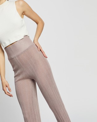 Missguided Metallic Wide Leg Trousers - Pants (Pink)