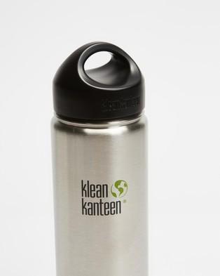 Klean Kanteen 27oz Wide Loop Cap Bottle - Running (Brushed Stainless)