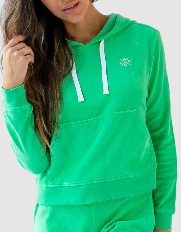 Women Andy Cohen Mint Terry Cropped Hoodie