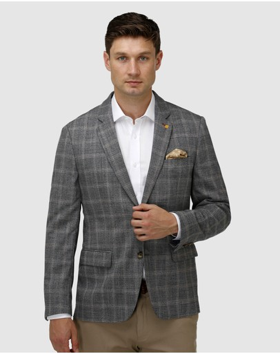 Brooksfield - Stretch Textured Window Pane Blazer