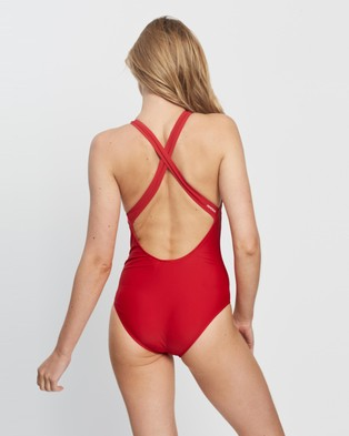 adidas Originals Adicolor Primeblue Tricolor Trefoil Swimsuit One-Piece / (Scarlet)
