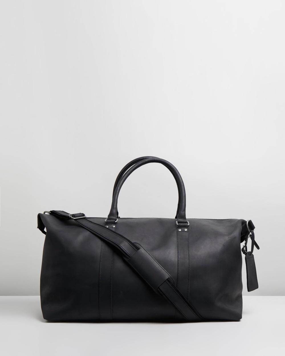 Double Oak Mills Lyle Leather Weekender Duffle Bags Black