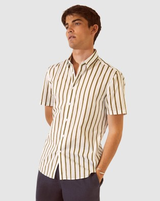 SABA SB Toby Stripe Short Sleeve Voile Shirt - Shirts & Polos (green)
