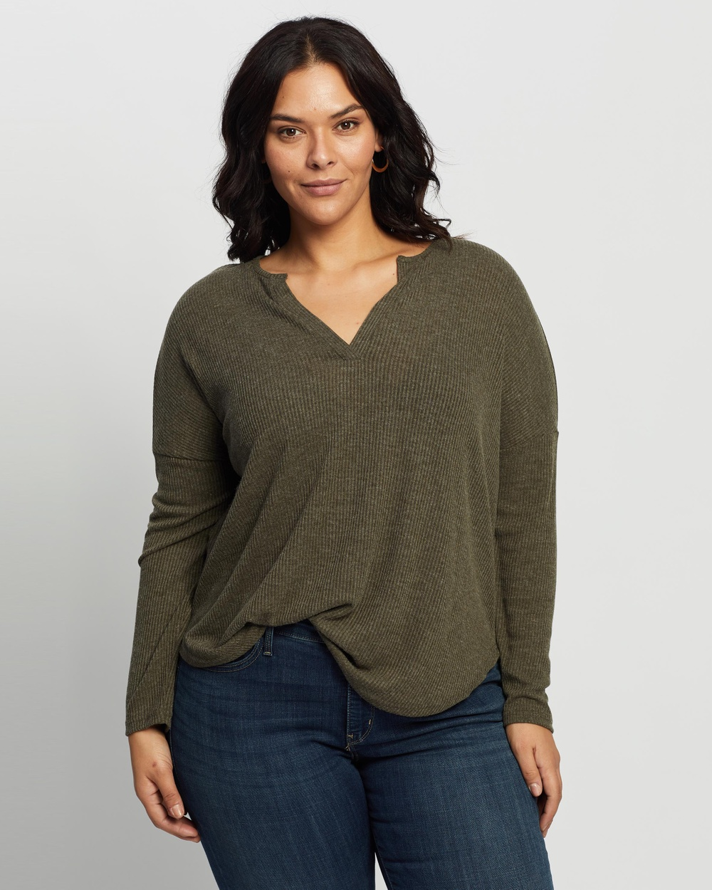 Atmos&Here Curvy - Rozalia Relaxed Oversized Top - T-Shirts & Singlets (Khaki) Rozalia Relaxed Oversized Top