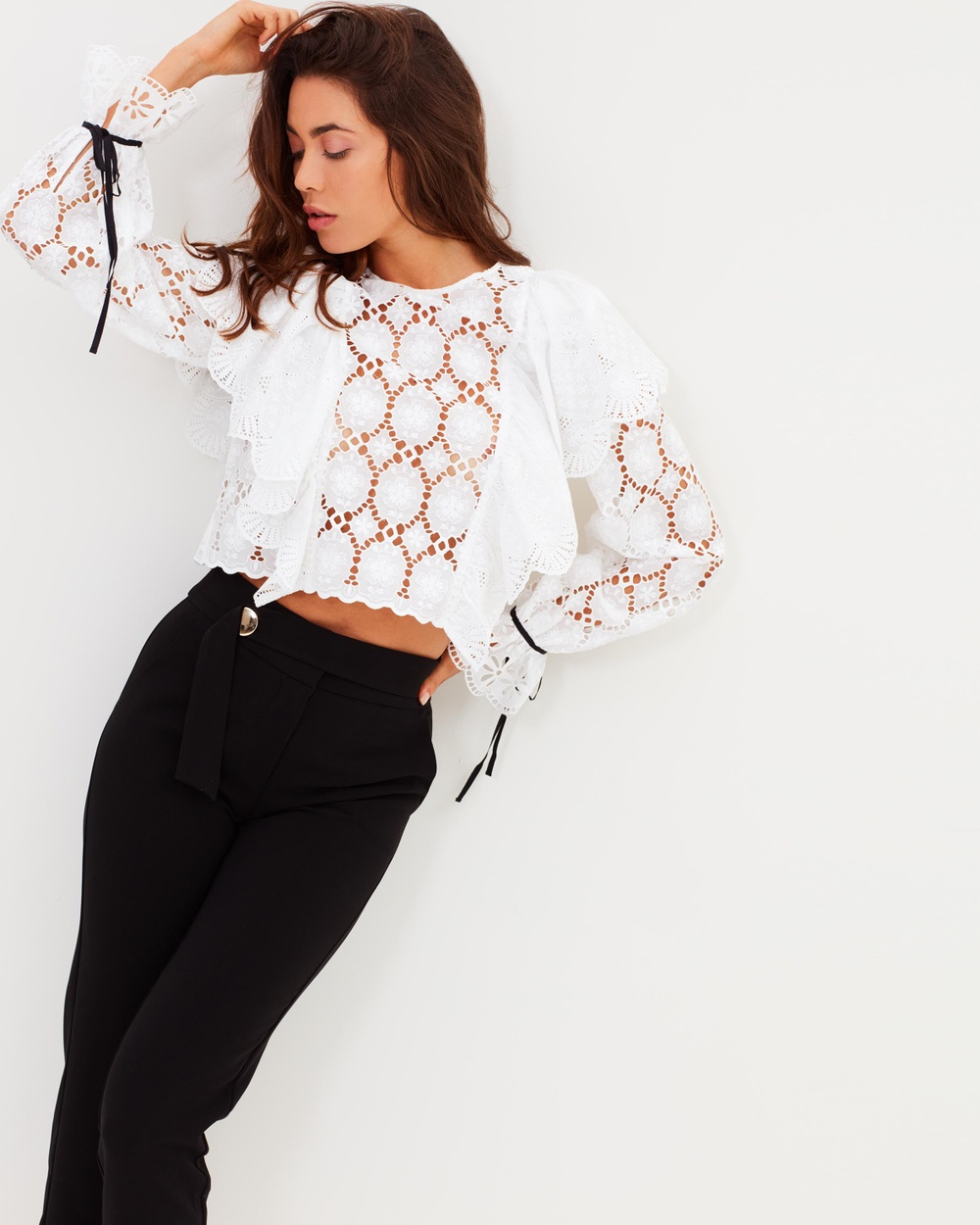 Perseverance Clover Embroidery Anglaise Ruffled Blouse Cropped tops Off-White Clover Embroidery Anglaise Ruffled Blouse