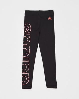 adidas Performance Logo Tights   Kids Teens - Full Tights (Black & Signal Pink)