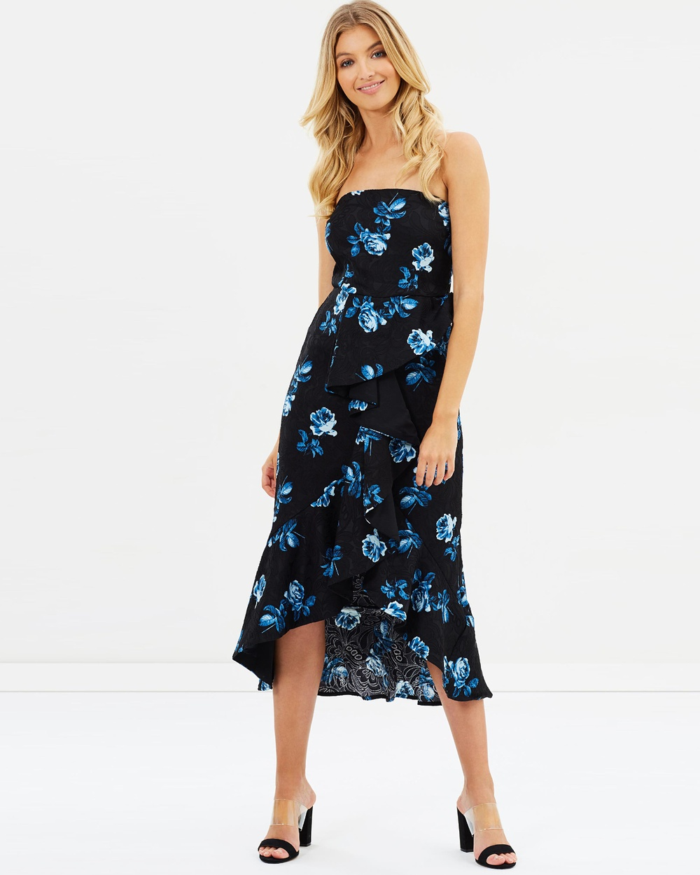 Atmos & Here ICONIC EXCLUSIVE Tammy Strapless Dress Printed Dresses Blue Roses ICONIC EXCLUSIVE Tammy Strapless Dress