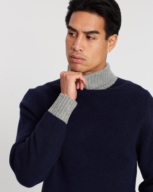 3 Wise Men The Noel Roll Neck Knit - Jumpers & Cardigans (Navy & Heather Grey)