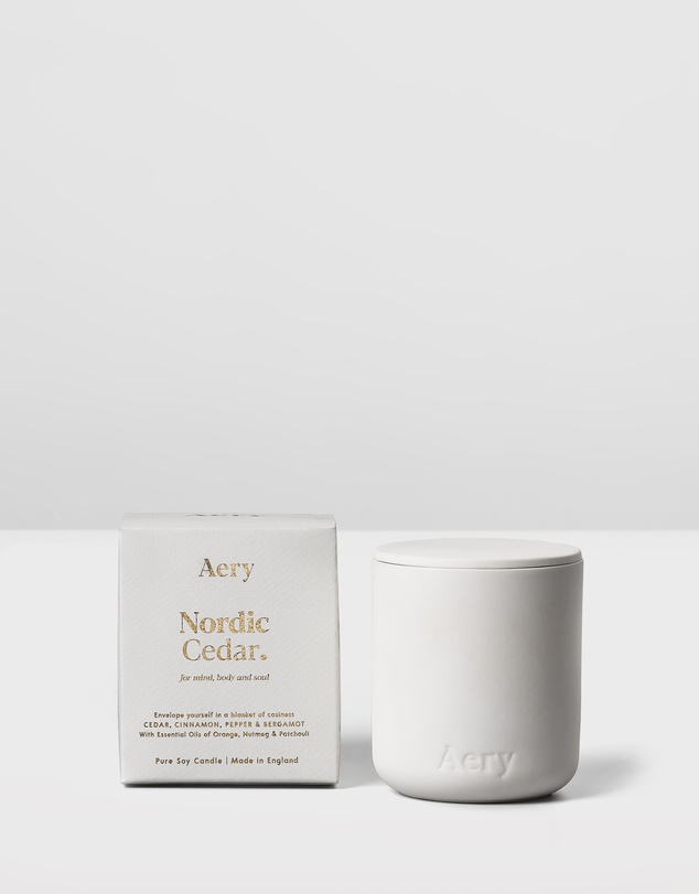Women Fernweh Matte Ceramic Candle with Lid - Nordic Cedar