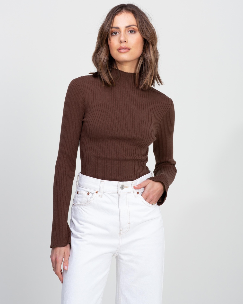 AERE Ribbed Knit Turtle Neck Sweater Jumpers & Cardigans Chocolate
