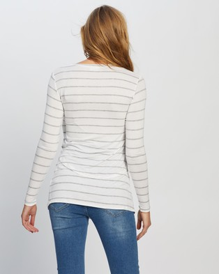 Cotton On Maternity Maternity 2 In 1 Long Sleeve Top - Tops (Zoe Stripe White & Grey Marle)