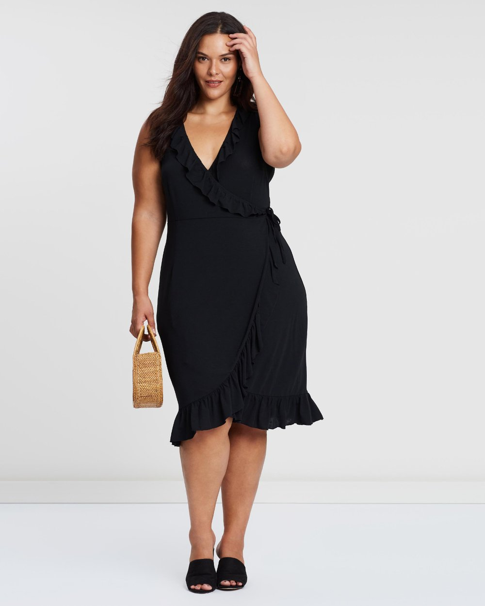 0a1167a9dcb ICONIC EXCLUSIVE - Jersey Frill Wrap Midi Dress by Atmos Here Curvy Online