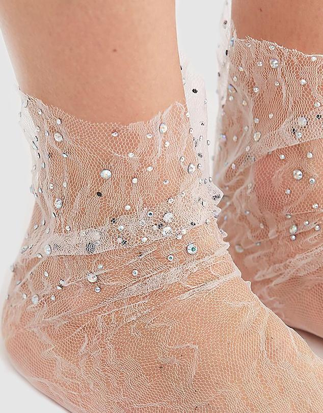 Women Crystal Lace Sock