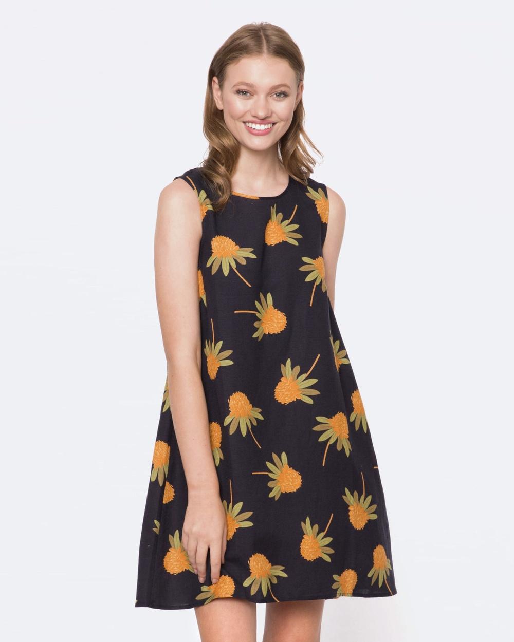 Princess Highway Waratah Dress Printed Dresses Navy Waratah Dress