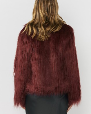 Everly Collective Marmont Faux Fur Jacket - Coats & Jackets (Wine)