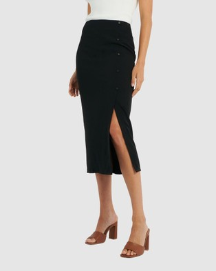 Forcast Lori Front Split Midi Skirt - Skirts (Black)