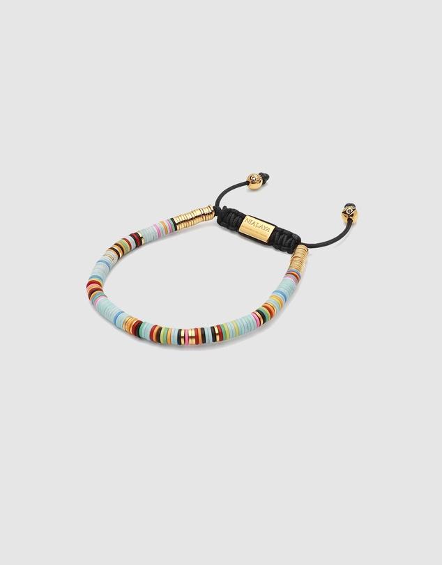 Men Men's Beaded Bracelet with Disc Beads