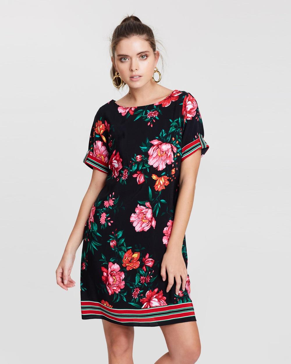 DP Petite Black Floral Shift Dress