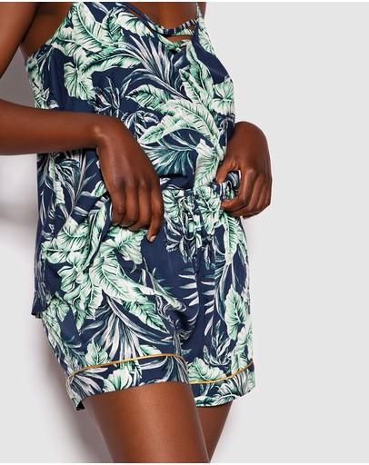 Bras N Things Tropical Sunrise Cross Front Cami Print Floral/dark Blue