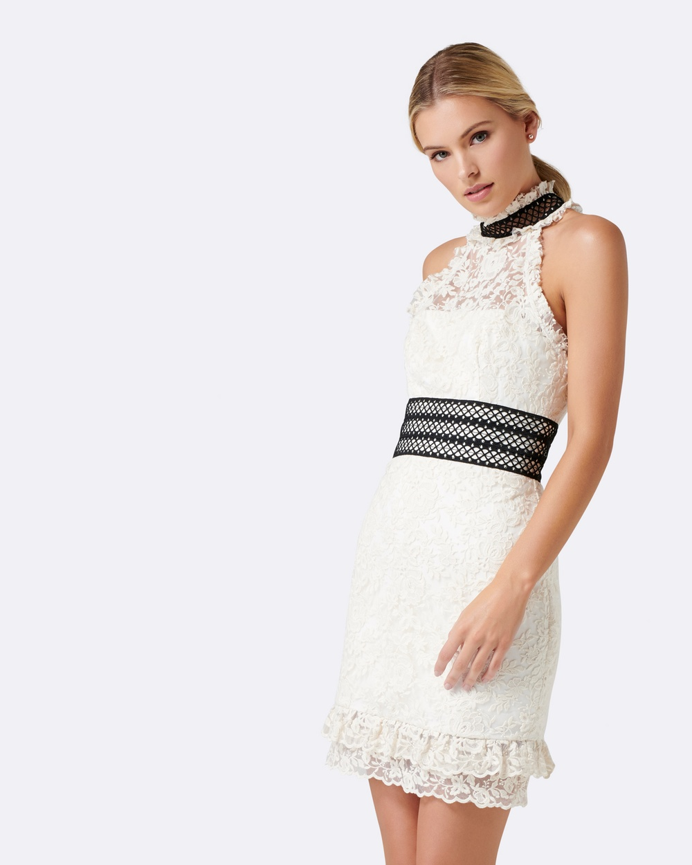 Forever New Cream & Black Ivory Embroidered Lace Dress
