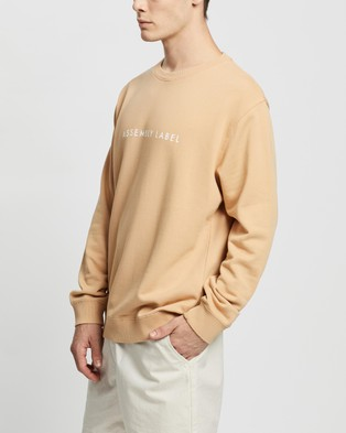 Assembly Label Logo Fleece Pullover - Sweats (Taupe & White)