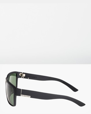 Quiksilver Mens Ridgemont Polarised Sunglasses - Sunglasses (MATTE BLACK/GREEN PO)
