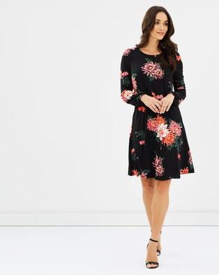Wallis – Autumn Oriental Swing Dress – Printed Dresses Black
