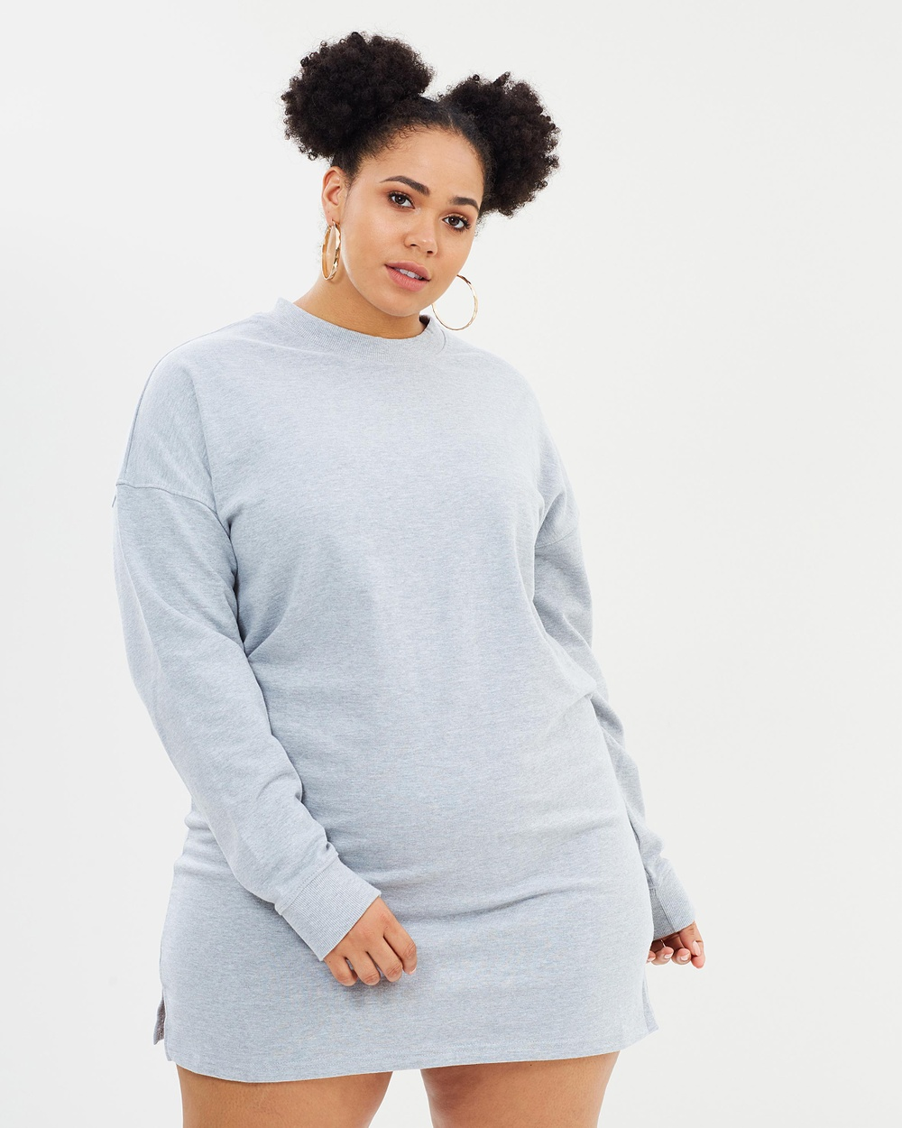 Missguided Curve Sweat Dress Dresses Grey Sweat Dress
