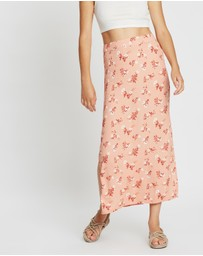 All About Eve - Vintage Floral Split Maxi Skirt