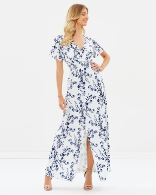 Atmos & Here – Lillian Maxi Dress – Printed Dresses Navy Floral