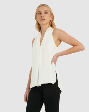 Forcast Tara V Neck Tunic Top - Tops (Ivory)
