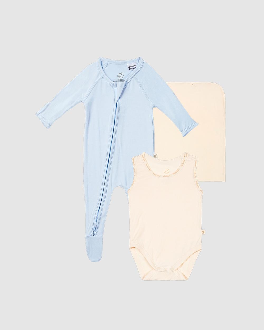 Boody Take Bub Home Gift Set Wraps & Blankets Chalk/Sky Stripe