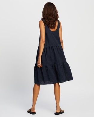Assembly Label Tiered Linen Dress - Dresses (True Navy)