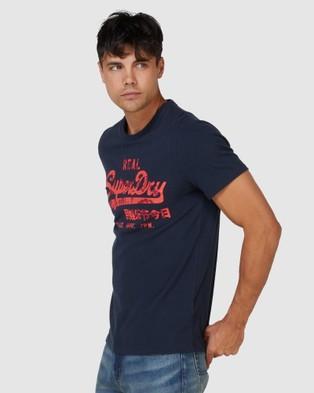 Superdry Vintage Logo Rising Sun Tee - T-Shirts (Eclipse Navy)