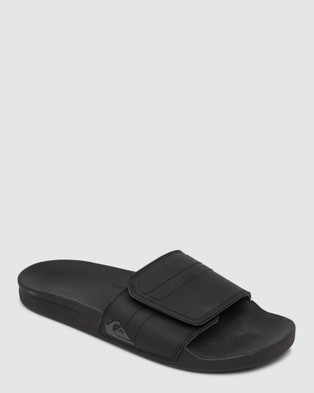 Quiksilver Mens Rivi Slide Adjust Sliders - Slides (Black/Grey/Black)
