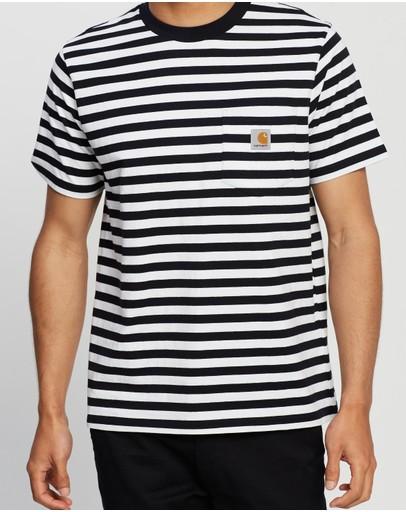 Carhartt Ss Scotty Pocket T-shirt Stripe Dark Navy & White