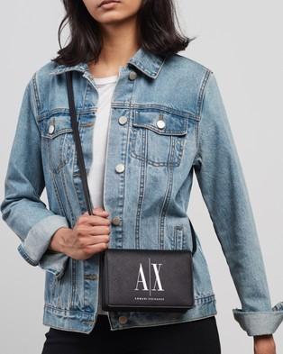 Armani Exchange Saffiano Icon Cross Body Bag - Bags (Black & White)
