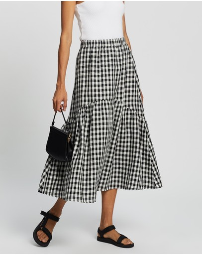 AERE - Tiered Midi Skirt