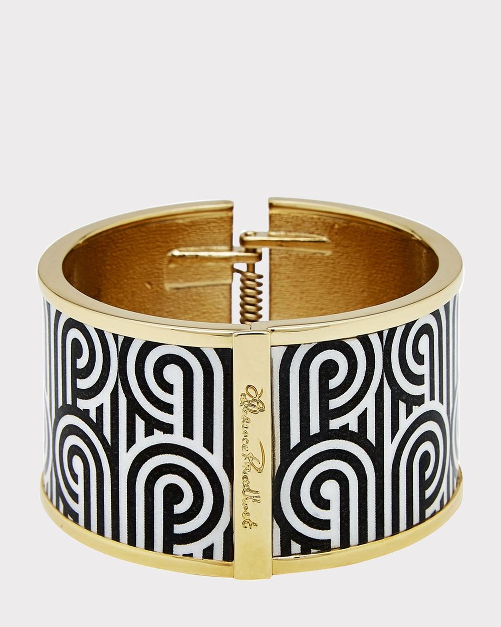 Florence Broadhurst Turnabouts Enamel Bangle in Gift Box Jewellery Black/White