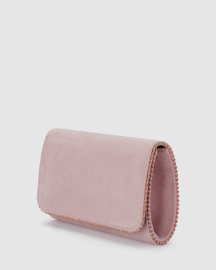 Olga Berg Jules Metal Trim Foldover Clutch - Clutches (Blush)