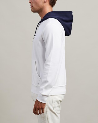 Polo Ralph Lauren ICONIC EXCLUSIVE   Double Knit Contrast Hooded Jacket - Hoodies (White)